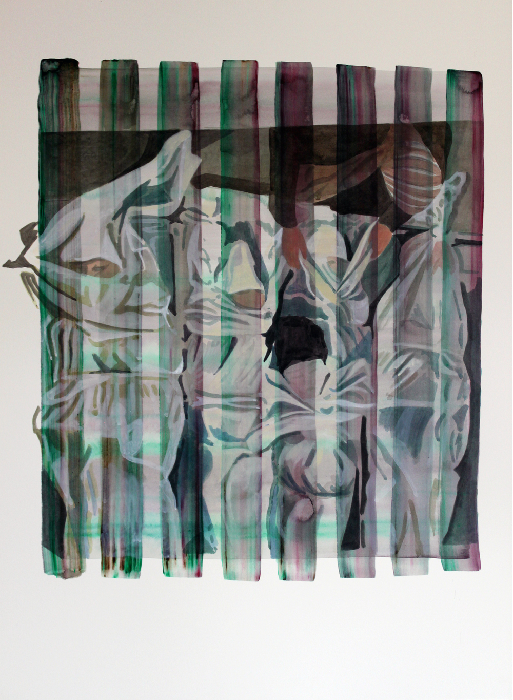 WRAPPED UP, Acrylic on paper, 57 x78cm, 2012