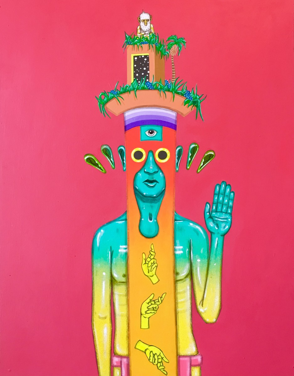 Drigo  - Drigo's work focuses on the idea of a young conscious mind and the merging of various cultures. In his work, he places his indigenous characters in unique, decorated head pieces; accompanied by colorful landscape-like environments unique to each painting acting as a glimpse into the astral plane. Primarily working in gouache, spray paint, and acrylics, Drigo uses patterning and his bright color palette to convey heavy cultural influence within each of his beings.