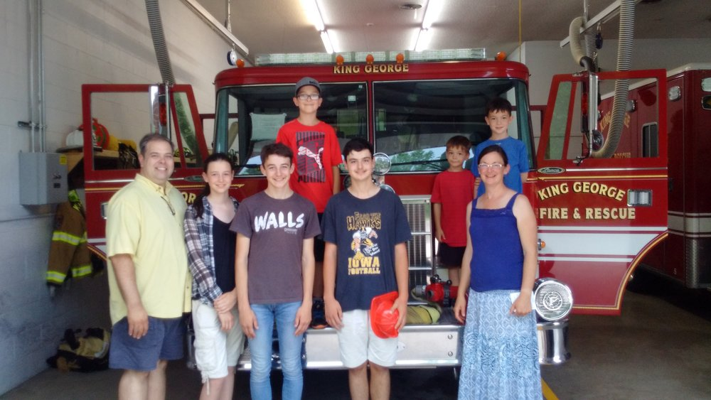 The Knabe Family Sharing Psalm 91 and Encouragement with the King George, VA Fire and Rescue Department