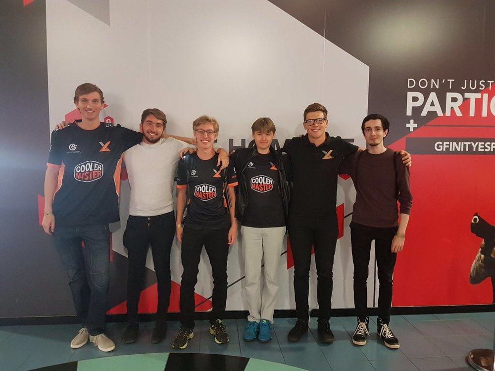 Our Rocket League team posing after a well-earned lunch break with exceL co-owner Kieran.
