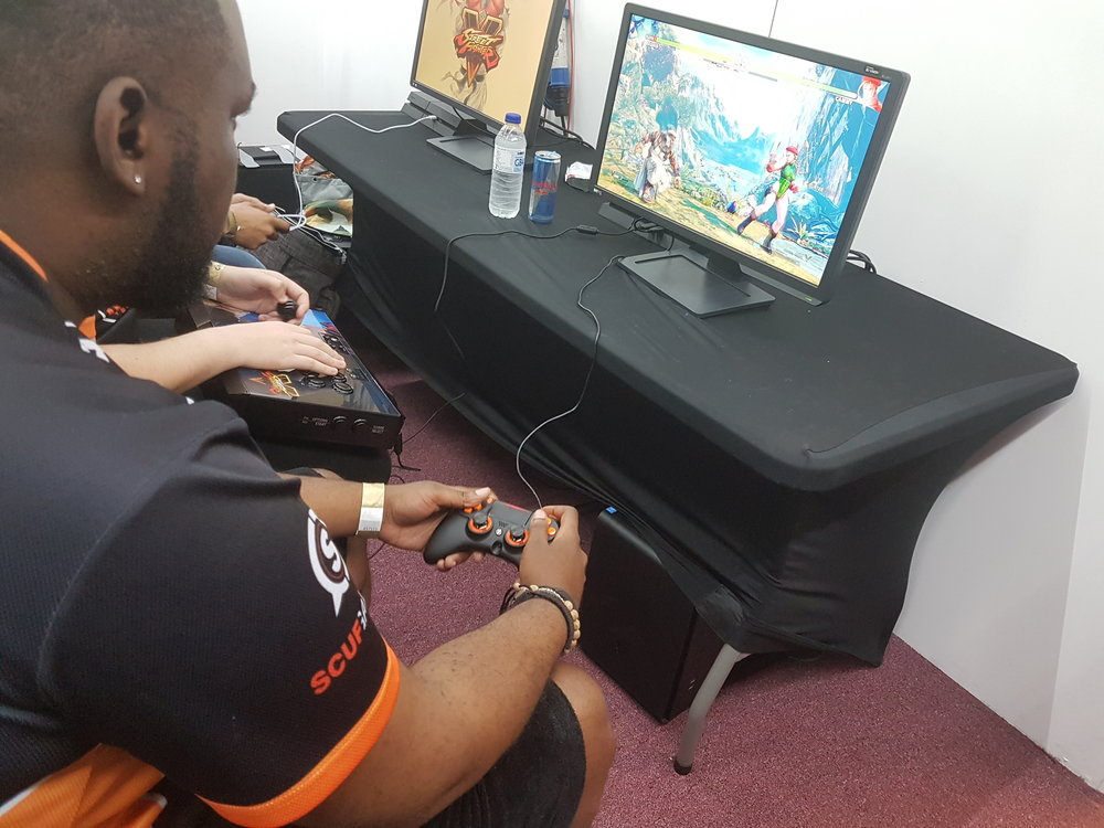 Player of the Series Claude 'Hurricane' Diboti warming up with his Scuf Gaming controller.
