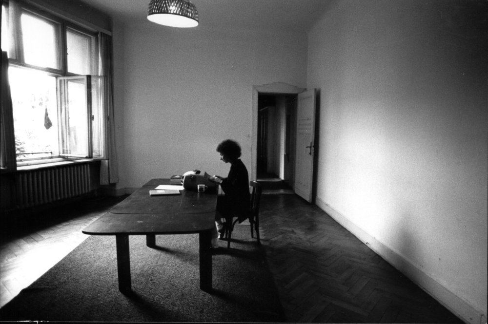 April 1984, starting to type The Handmaid's Tale in West Berlin.