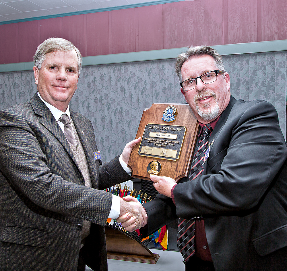 Lion Ken Hunter  receiving the Melvin Jones Fellow award in April 2015 from Lion President Jim Crow.  Ken has always been a real workhorse for the Goderich Lions Club in many functions and has been the driving force for the upkeep of our Goderich Lions Gardens and with the Communities in Bloom Commitee for the Town of Goderich.