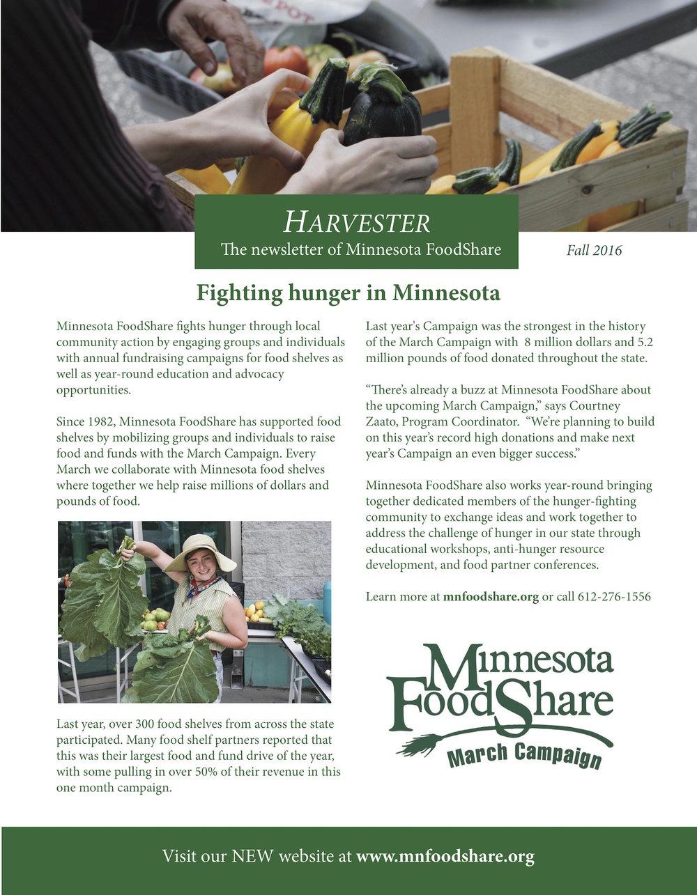 Minnesota FoodShare - Harvester Newsletter