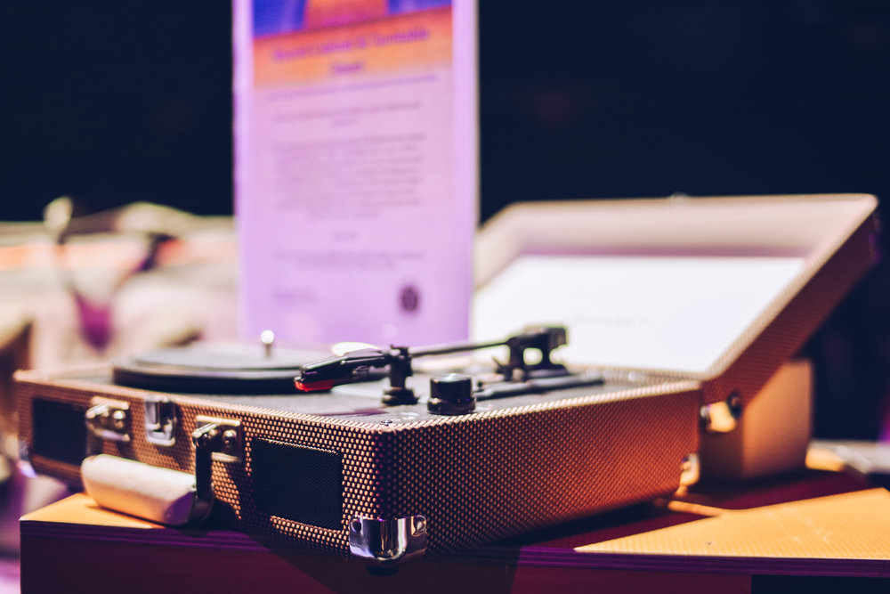 Record player that was up for auction at the HAAM Corporate Battle of the Bands