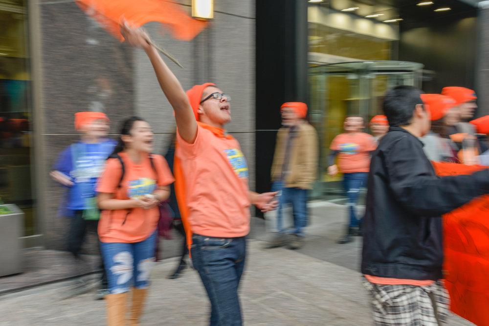 Protester waving a flag