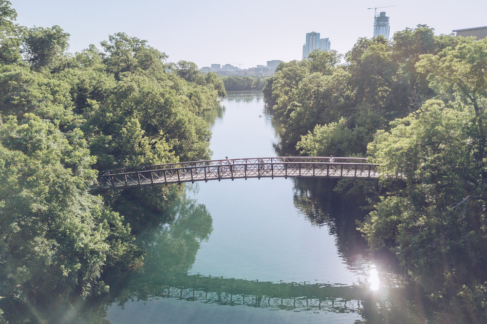 Sample shot done for The Trail Foundation. Normally this would be impossible to take but with a drone you can capture the idylic landscape, the turquoise of Barton Springs' water and a glimpse of the skyline.