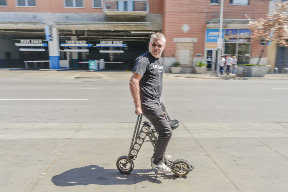 URB-E product innovator crushing it on his URB-E electric scooter
