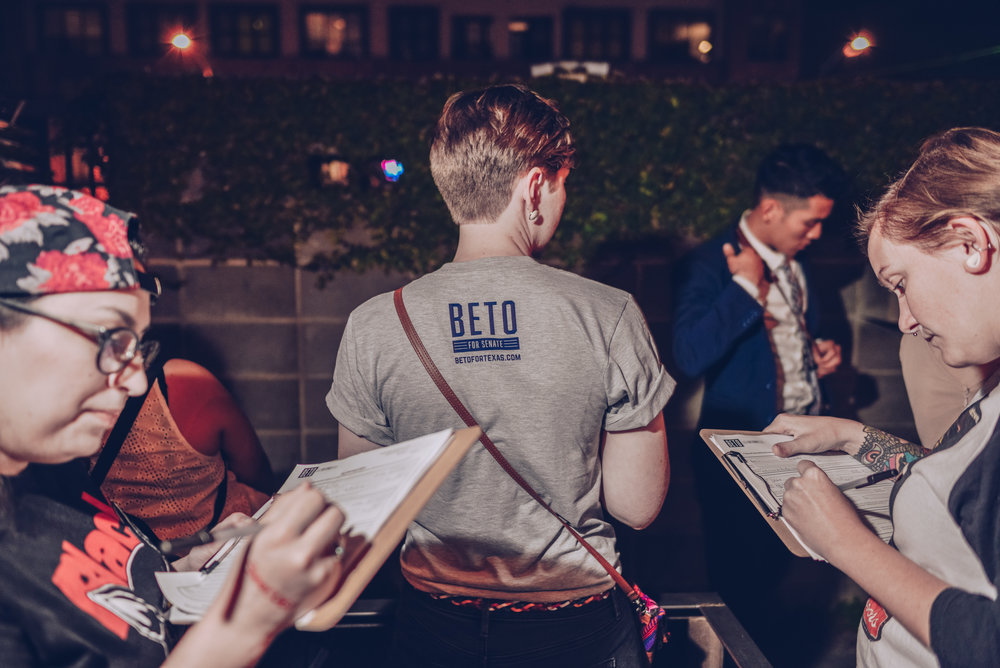 The Beto Field Team getting folks signed up to volunteer and registered to vote