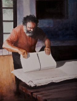 "TITLE: ""The Paper Maker,"" by Camille    DESCRIPTION:  Fabriano watercolor paper continues to be handmade in the same tradition, since the 12th century."