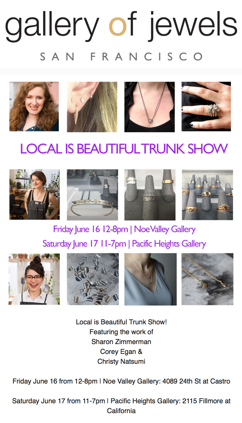 San Francisco Local Jewelry Artist Trunk Show Gallery of Jewels
