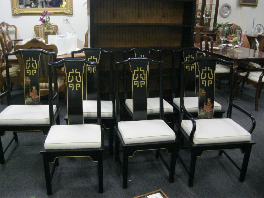 (7) Asian Style Dining Chairs by Century
