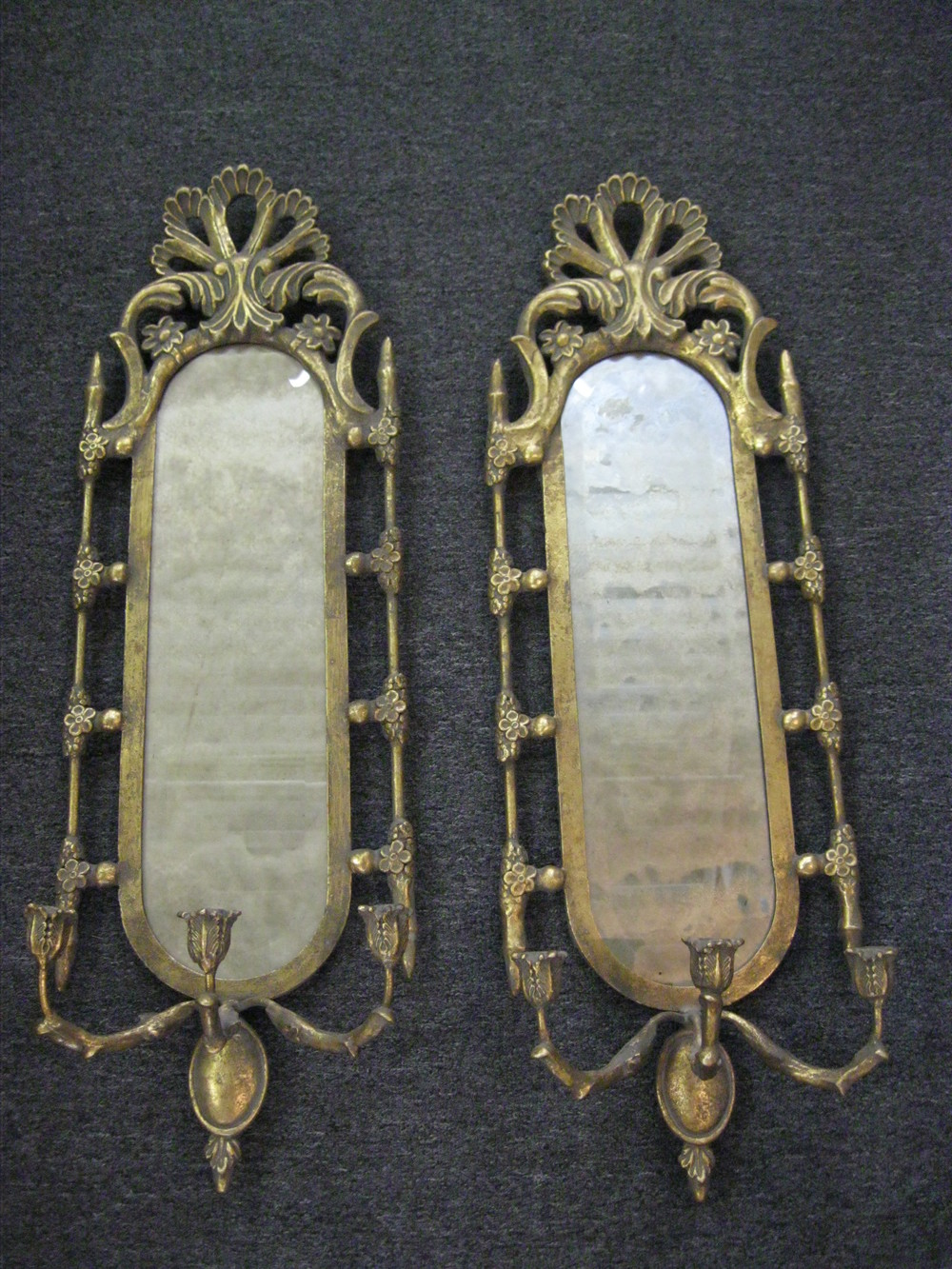 Pr. gold framed Venetian style mirrored candle wall scounces