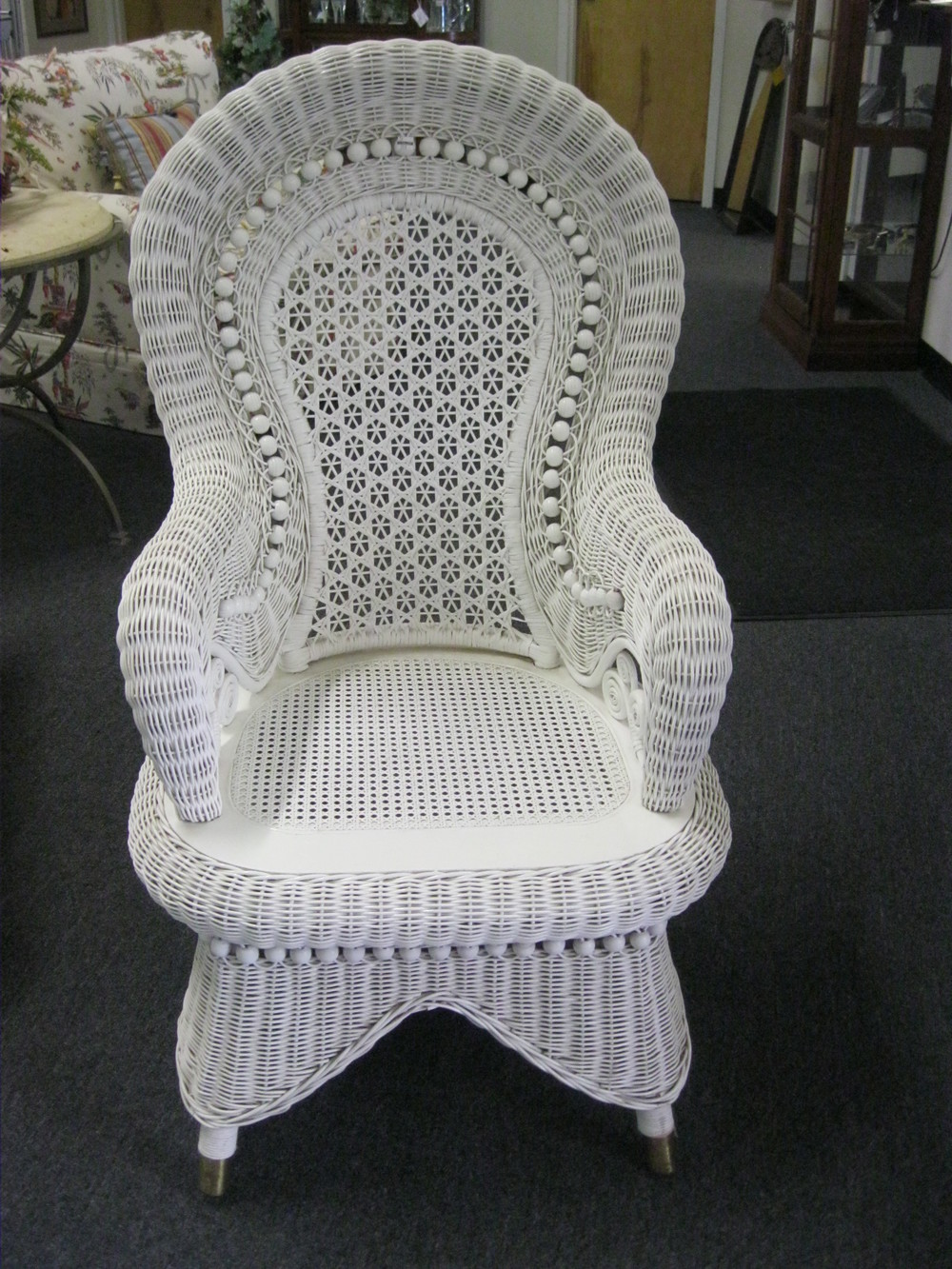 White Wicker Victorian style rolled arm chair
