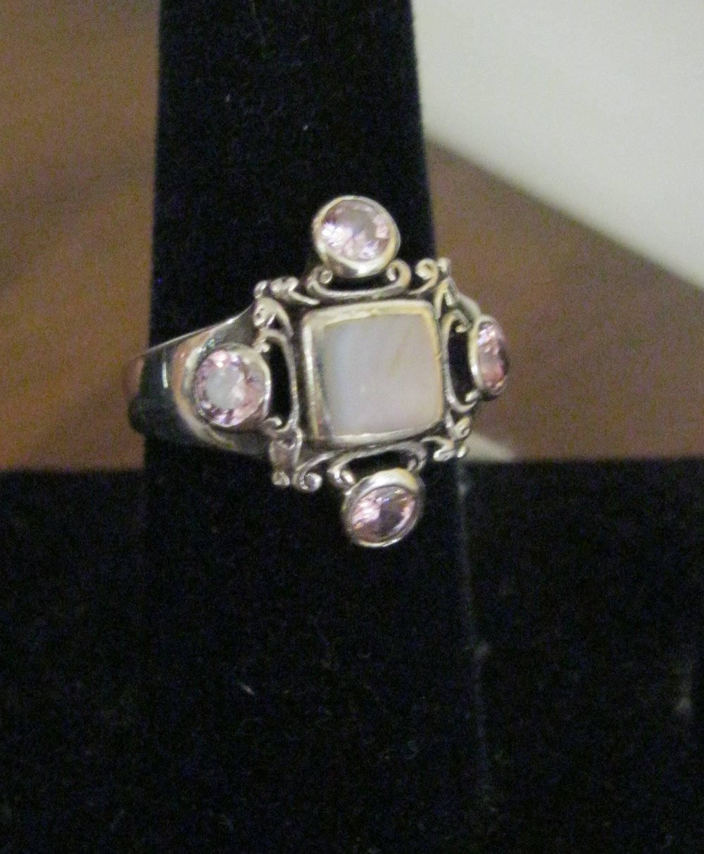 Sterling ring with pink stones