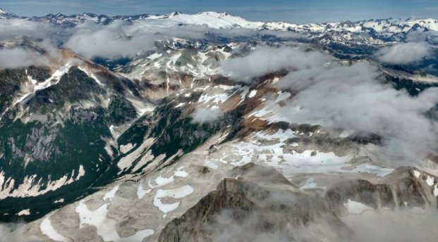 """It was a treat being able to do projects on the coastline because it allowed the rare opportunity of seeing Katmai from the sky. [This is] Aleutian Range, Katmai,"" said Phillips."