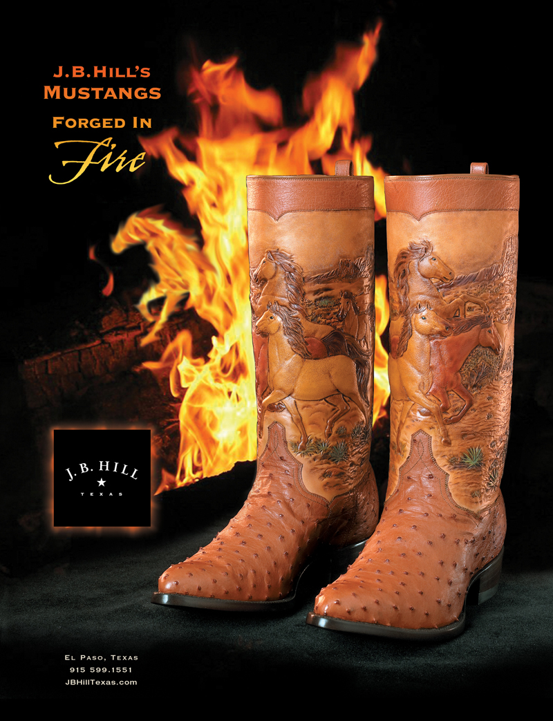 "After seeing these boots, I came up with the line ""Forged in Fire"" referring to the incredible amount of skill and hours it took to craft the leatherwork.  I used a photograph of a campfire for the background and added an extra visual bonus in the flames...can you find it?  Clients love these little extras.  Boot Photography Lencho Guerra"