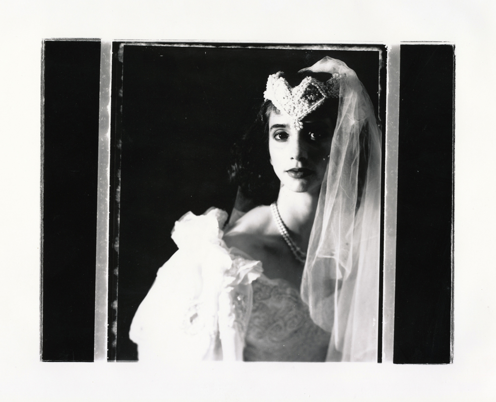 Teresa Wedding Series   Contact print off 4x5 Polaroid test negative..  © Jud Burgess  1989