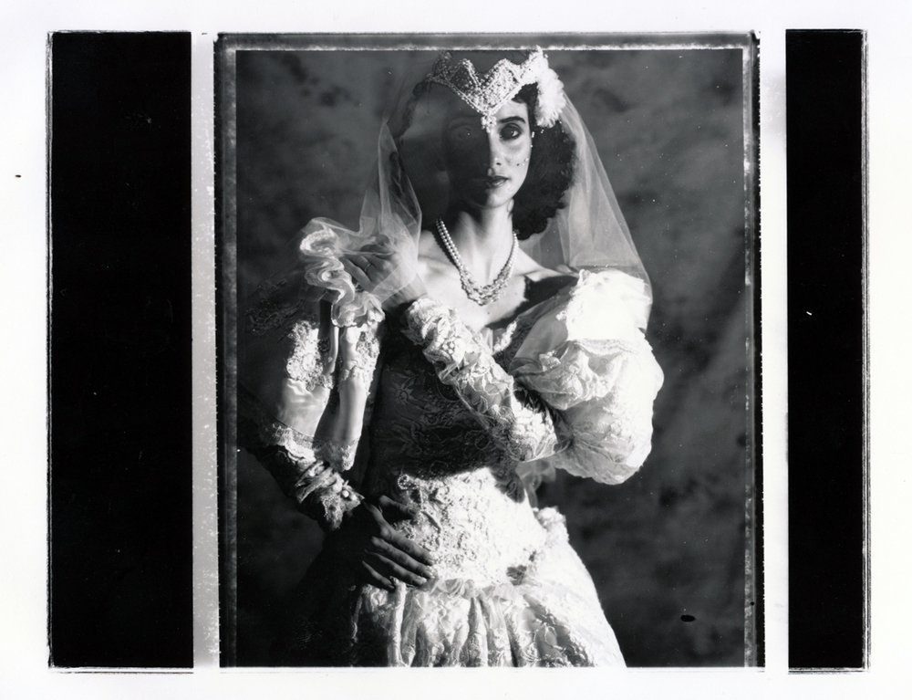 Teresa Wedding Series   Contact print off 4x5 Polaroid test negative.  © Jud Burgess  1989