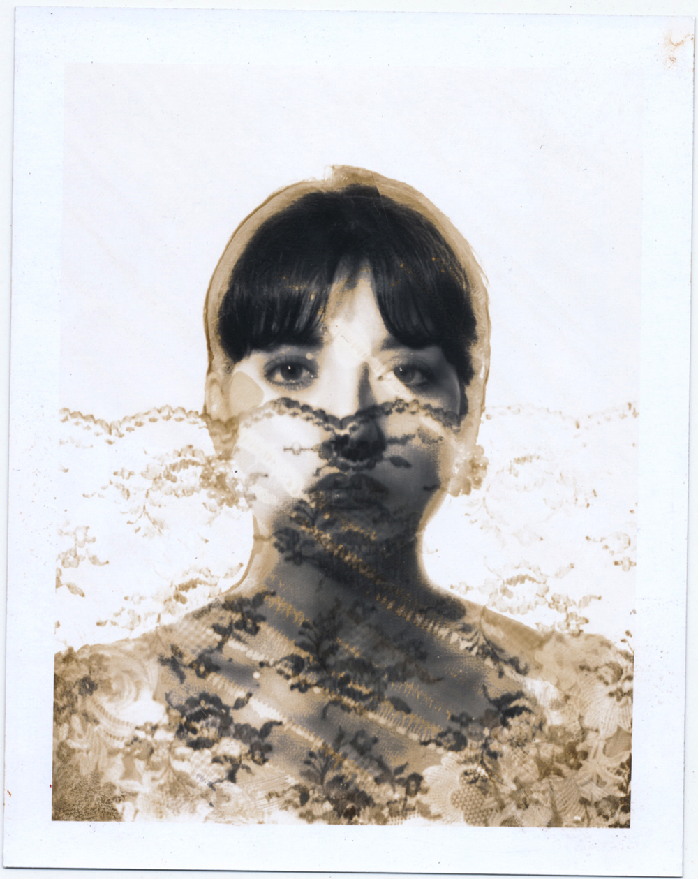 Angelica Hiding Behind Lace   4x5 Polaroid test print.  © Jud Burgess  1989
