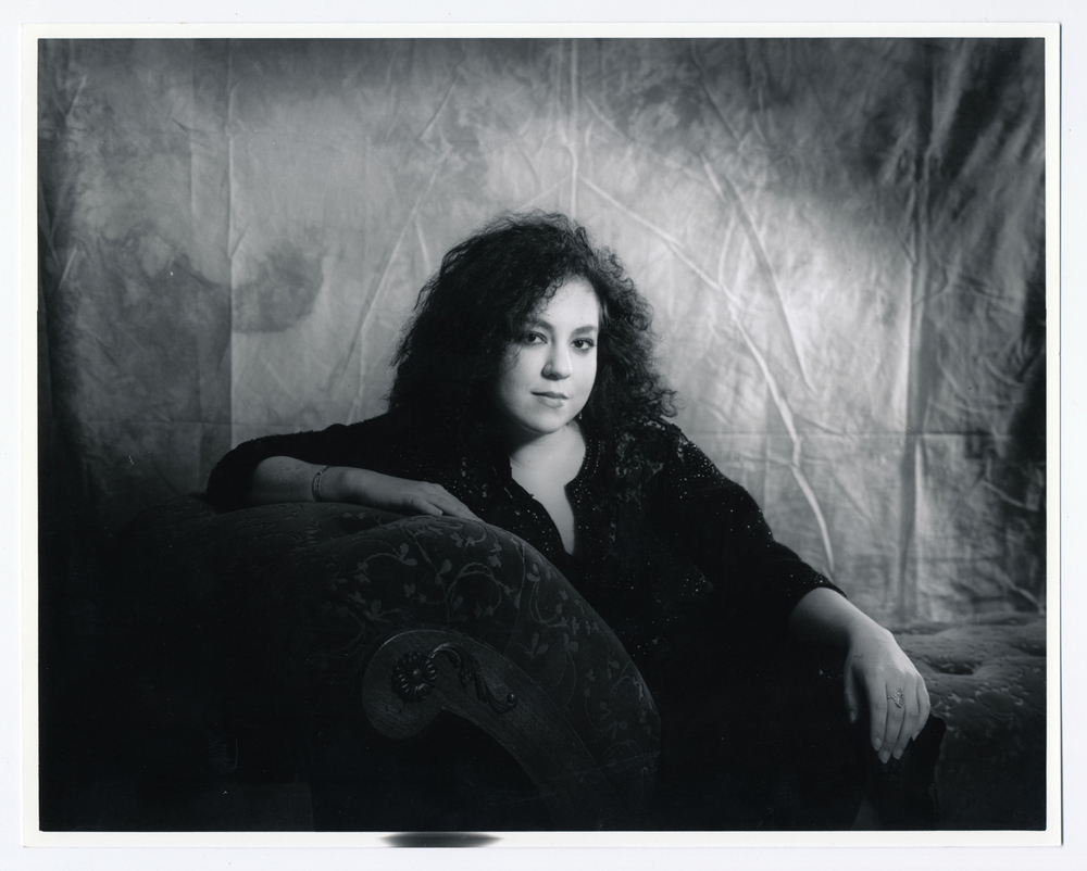 Gillian on Fainting Couch   4x5 silver print.  © Jud Burgess  1989