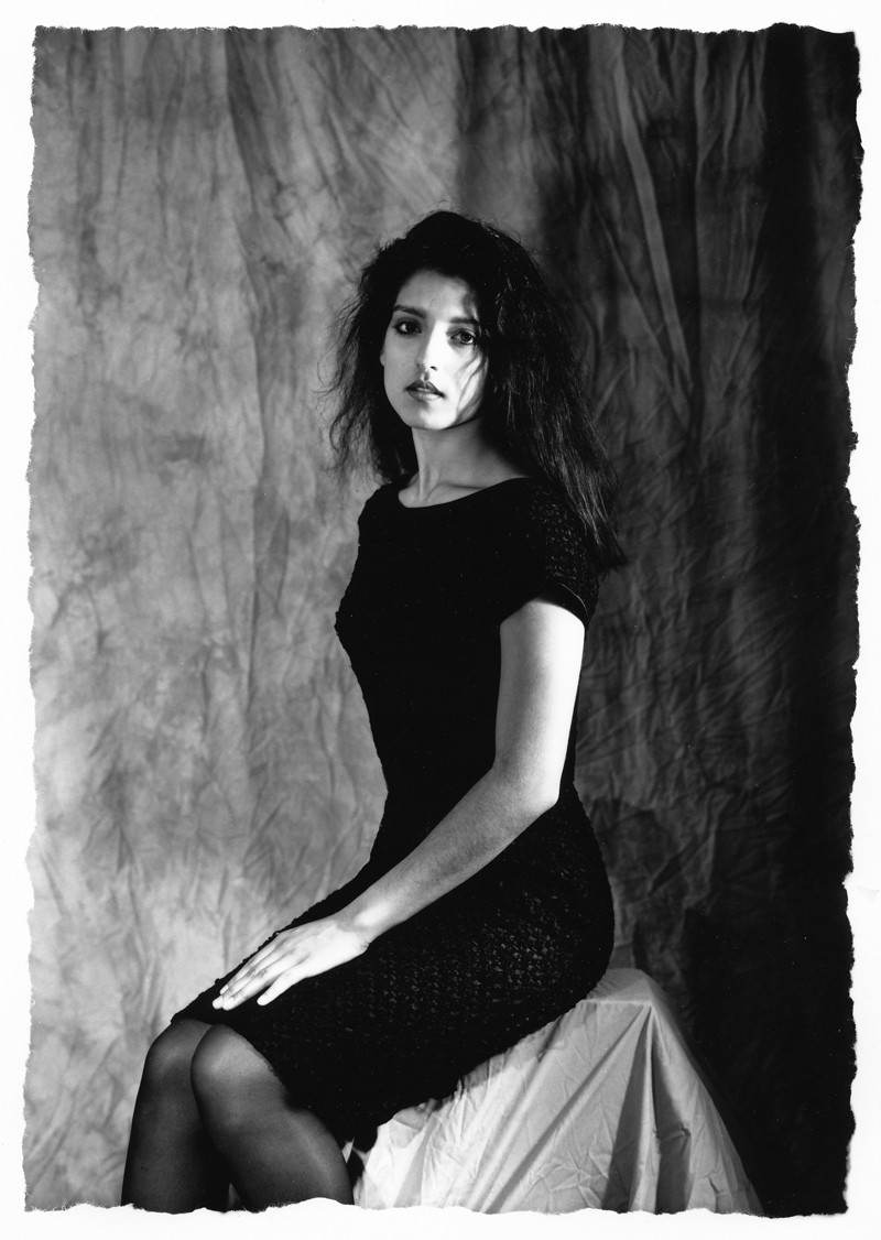 Angelica Seated 2   4x5 silver print.  © Jud Burgess  1990