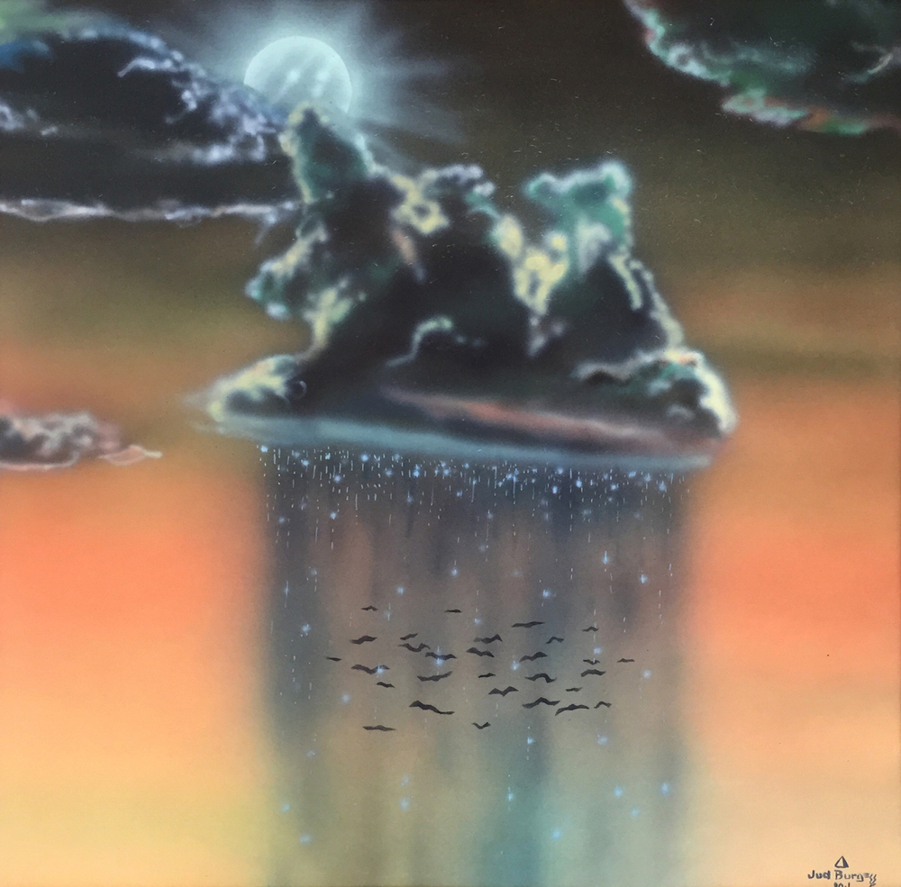 Bat Flight   Airbrush enamels on coldpress board   © Jud Burgess 1980