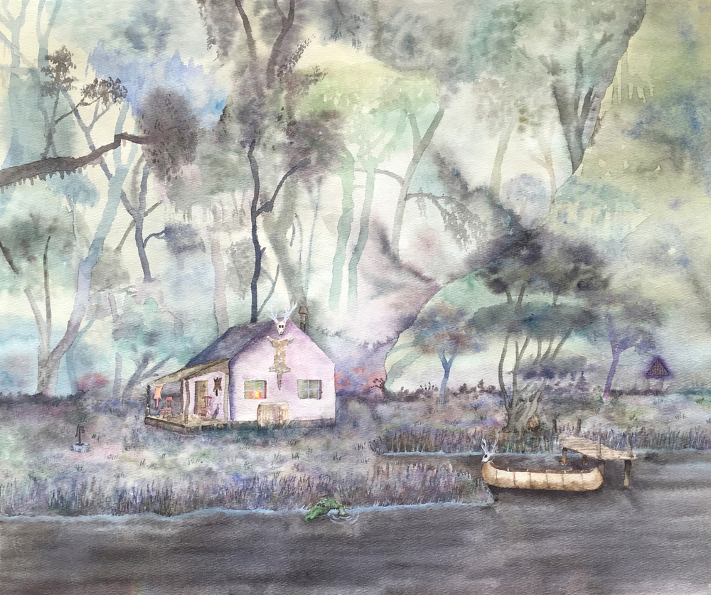 Bayou Shotgun Shack   Watercolor on paper.    © Jud Burgess  1978