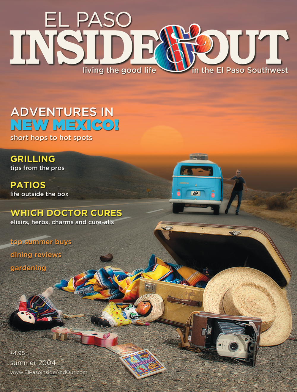 "Inside & Out was the brainchild of my client, publisher Don Baumgardt.  He wanted to produce a great local flavor magazine with wonderful and unique content.  We produced five issues before it became too expensive to produce...it was a choice between quality content or fluff that sells ad space, like ""Best Of Doctors, Lawyers, Real Estate Agents"" pseudo-editorial sections.  It was an idealistic venture that our 3-person team thoroughly enjoyed.  (Don Baumgardt-publisher, Pam Murray-editor, Jud Burgess-designer)"