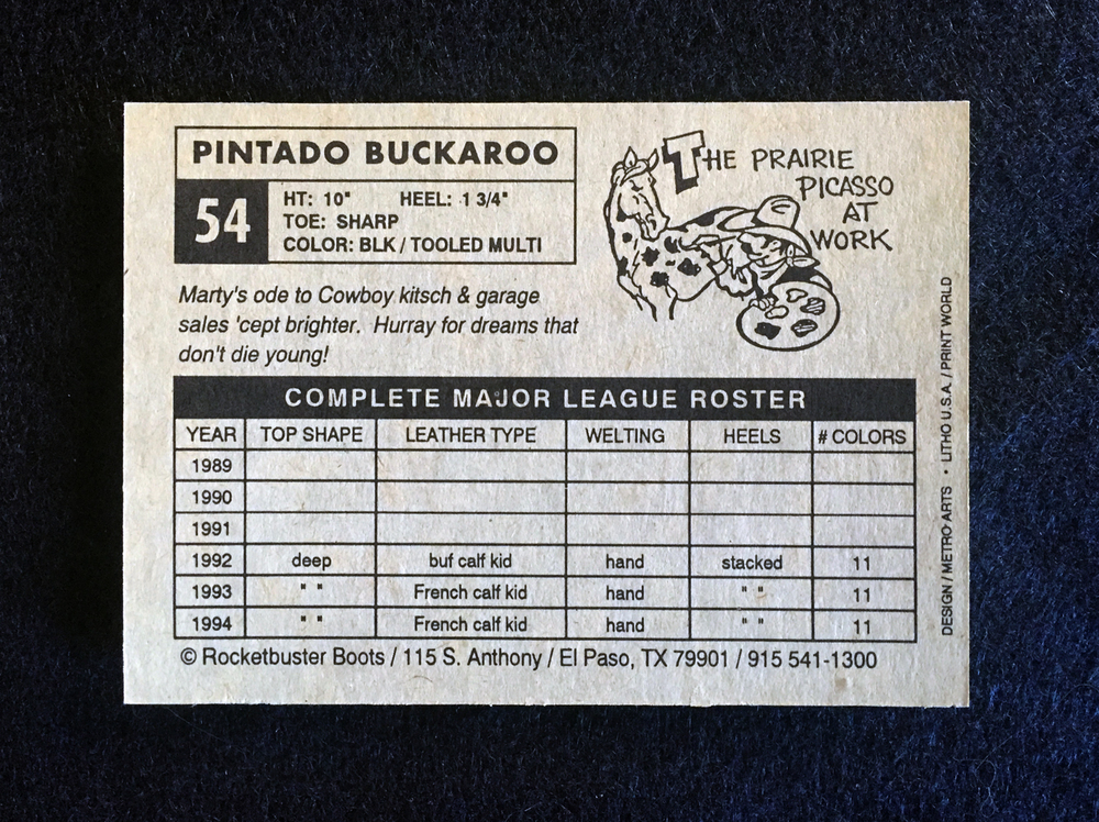 Same card, backside.  Marty wanted the back to look like a baseball stat sheet that shows the boots specs.  Brilliant!  He also wanted each card to have an original cartoon by the maestro Nacho Garcia...brilliant again!