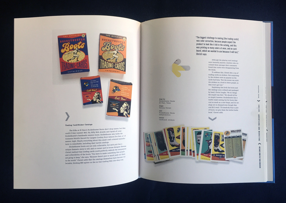 The Touch Graphics spread featuring my Rocketbuster Boots Trading Cards Catalog design.