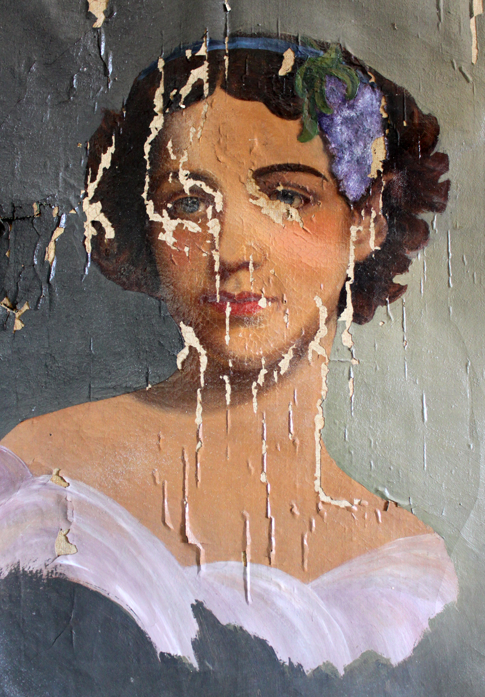 This beautiful portrait in the process of deterioration hangs in my office today. Probably done by an itinerant portrait painter in the 1800's. I love the way he spent his time capturing her face while doing the rest in quick and lively brushstrokes. This woman's portrait sat in a barn for several decades fading into obscurity until her memory was resurrected for at least as long as the paint holds to the canvas.