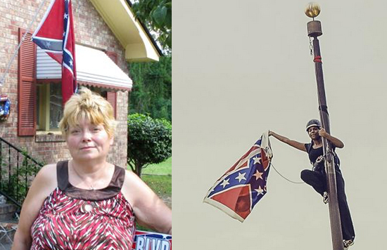 Annie Caddell and her flag (L) and Brittany Newsome (R).