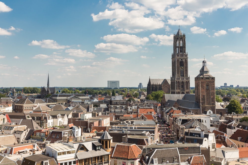 Aerial cityscape of medieval city Utrecht