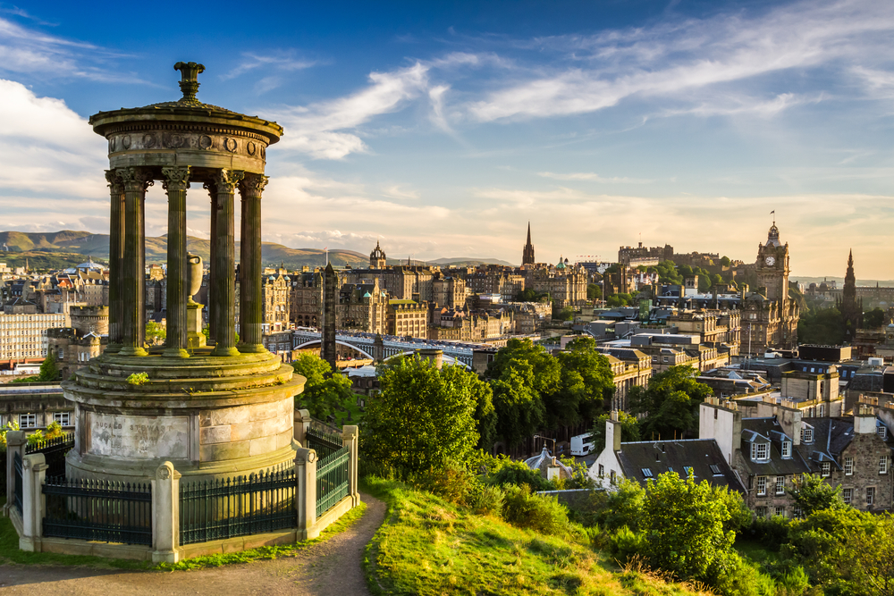 Beautiful view of the city of Edinburgh