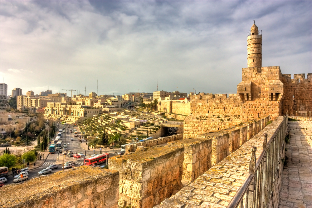 The view from on top of the Wailing Wall, looking out over the Tower of David and Jerusalem