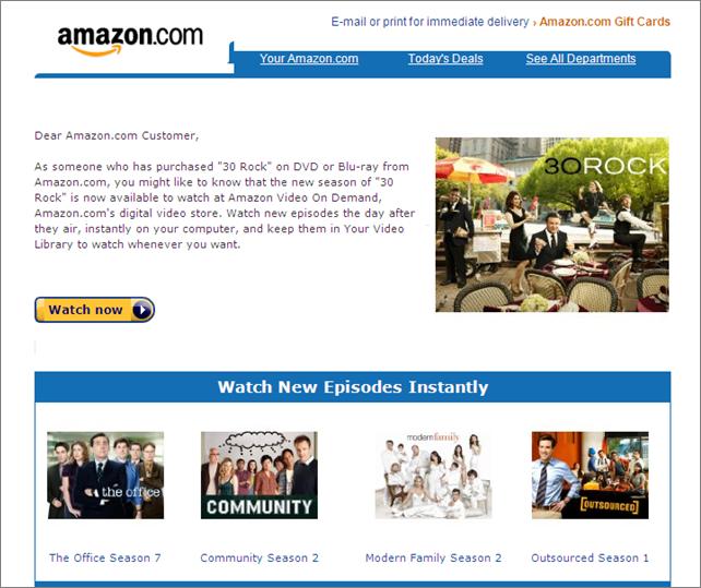 Example of Amazon Personalization Marketing