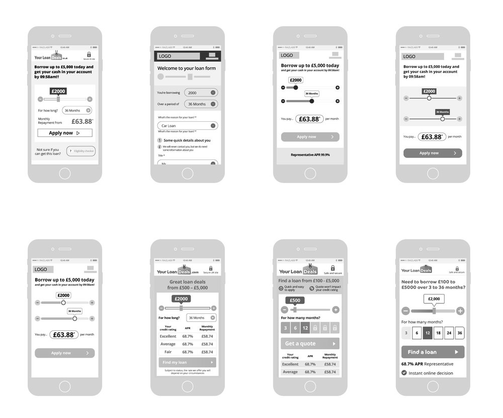 (Above) Wireframes from the ideation stage of the loan calculator on the landing page.