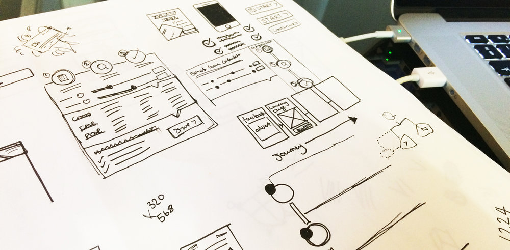 (Above) Sketches and wireframes from the early stages of ideation.