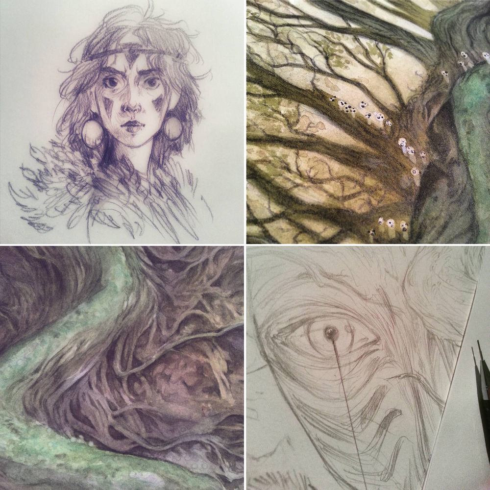 "In-progress shots for ""Shishigami Forest"""