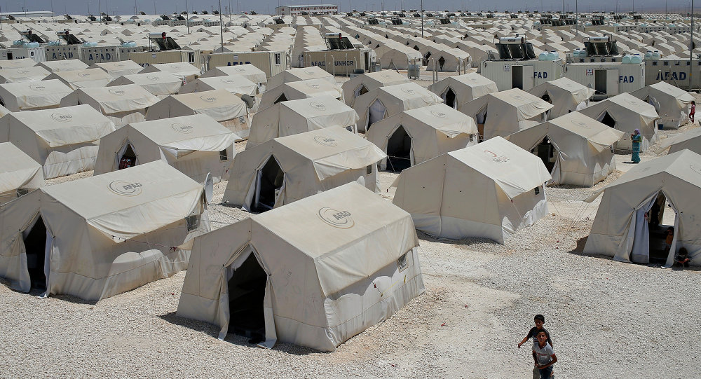 A refugee camp for displaced Syrians on the border of Turkey.