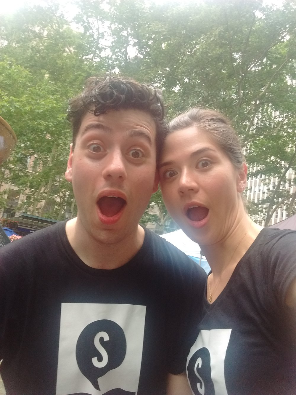 Paolo and I about to sing with the company in Bryant Park for  Broadway in Bryant Park