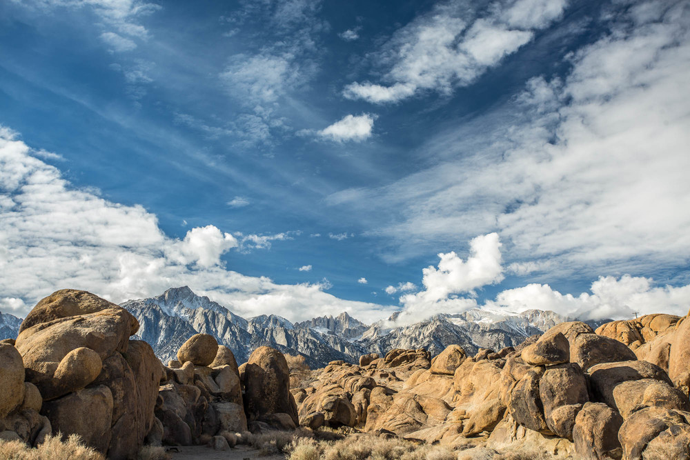 The Alabama Hills with Mt Whitney in the background