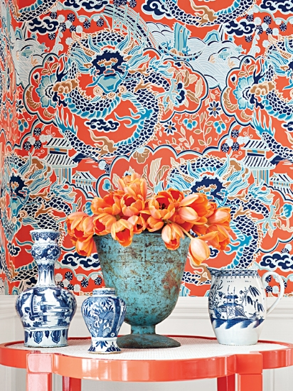Imperial Dragon wallpaper from Thibaut Design (photo courtesy of Thibaut)