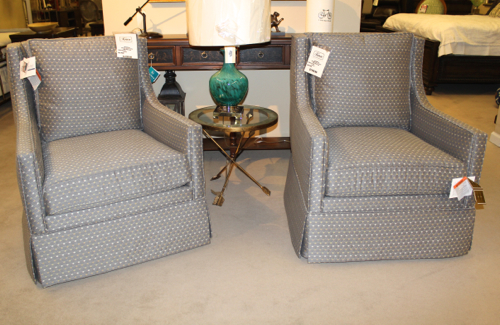 Cedric Swivel Chairs by Sam Moore (shown in Pewter fabric)