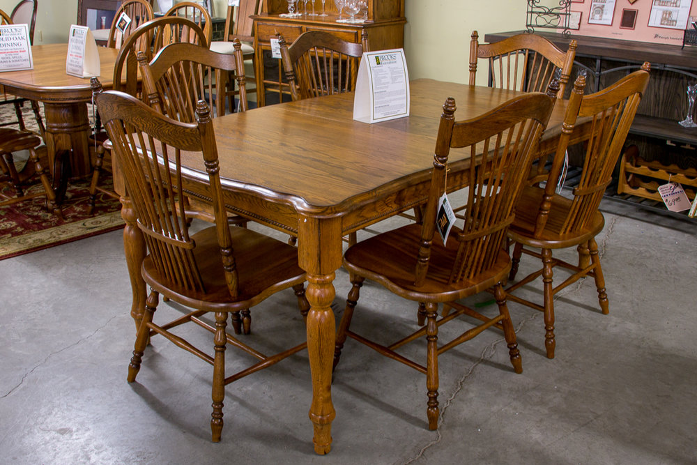 Brooks Solid Oak Furniture Table with Six Chairs