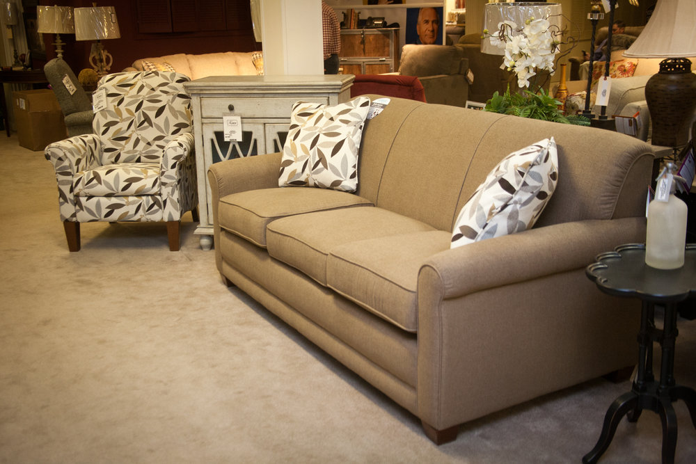 """Amanda"" Sofa with Matching Pushback Recliner"