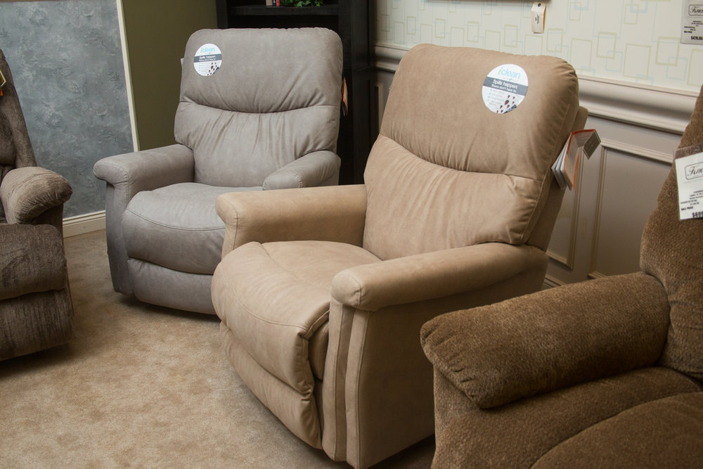 """Baylor"" Lazboy chairs shown in ""iClean"" fabric"