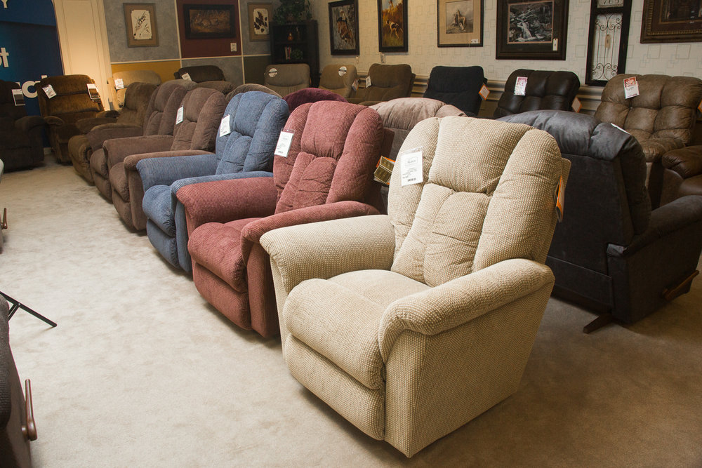 """Jasper"" Lazboy Chairs shown in ""select"" fabrics"