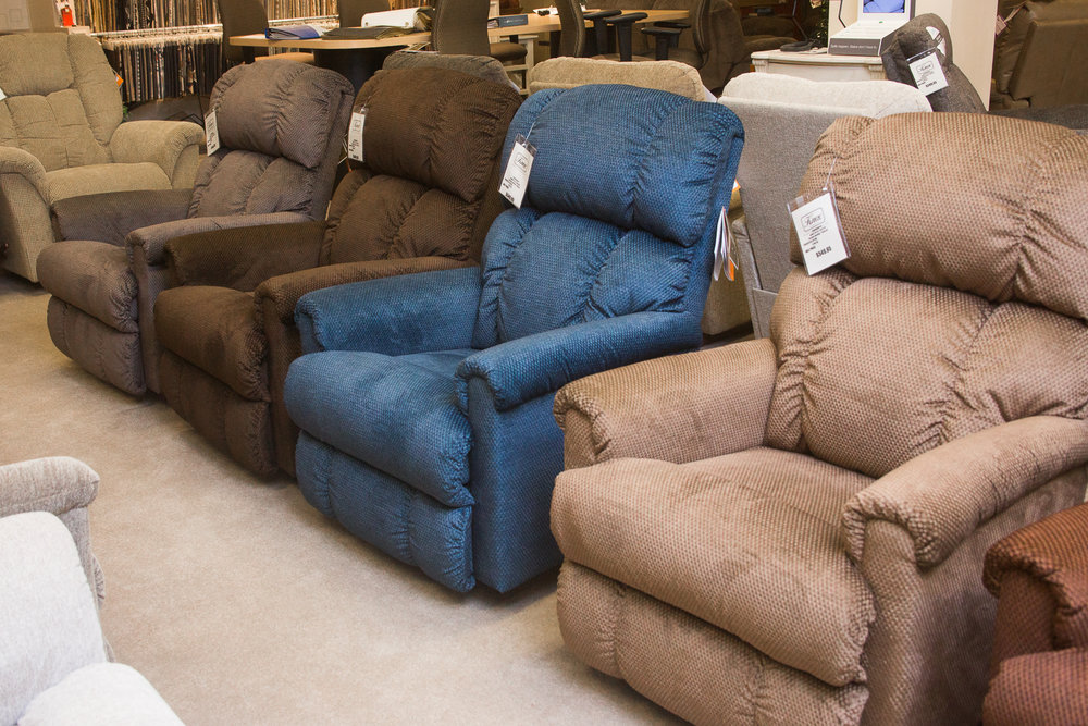 """Pinnacle"" Lazboy Chairs shown in ""select"" fabric"